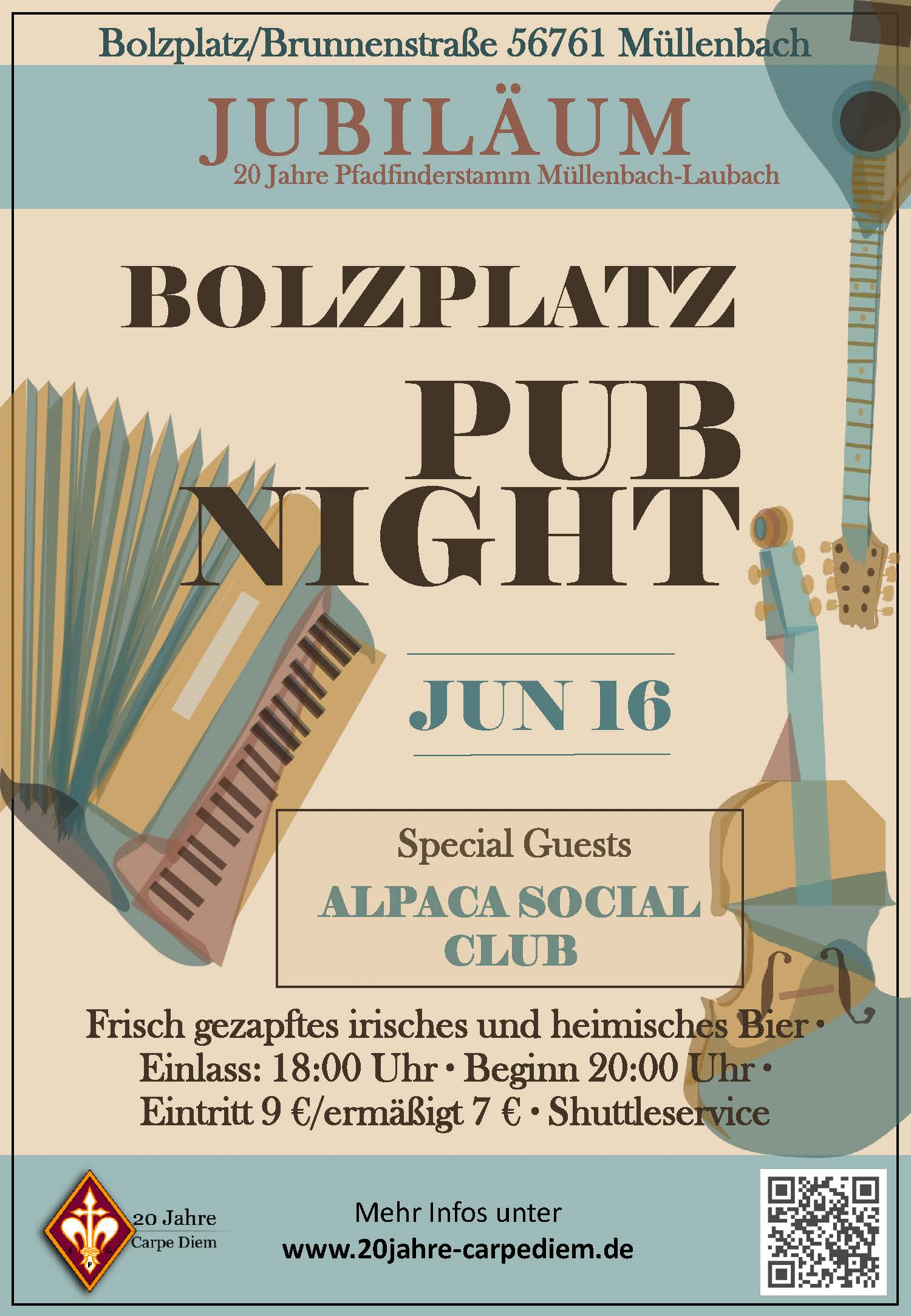 Flyer Bolzplatz Pub Night